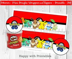 ^-^ INSTANT DOWNLOAD ^-^  Pokémon GO mini Pringles wrappers and Toppers. Great for Pokémon Party, Pokemon sweet table or Pokemon decoration.  You get: 2 Pokemon Mini Pringles wrappers, 1 design on 1 pdf printable (A4) 6 Pokemon Toppers, 1 design on 1 pdf printable (A4) .  Great for a Pokémon party! Print as many as you like! You will receive 2 printable digital files (pdf).  After purchase Etsy will send you an email with a link to your printables.  NON EDITABLE  File is designed to print on…