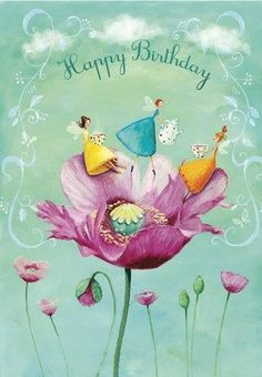 Happy Birthday with girls in poppy artist illustration by Mila Marquis Happy Birthday Pictures, Happy Birthday Messages, Happy Birthday Quotes, Happy Birthday Greetings, Happy Birthday Artist, Vintage Birthday, Birthday Fun, Birthday Logo, Birthday Angel