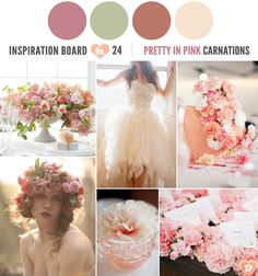 Dusty pink, sage green and peach inspiration board.