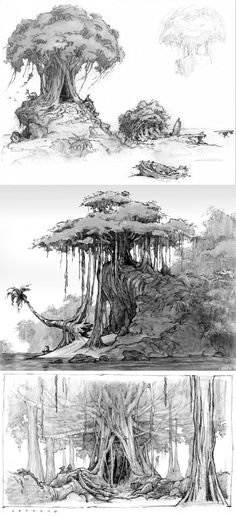 Tree designs by ARMAND SERRANO. Landscape Concept, Fantasy Landscape, Landscape Art, Fantasy Art, Environment Sketch, Environment Design, Landscape Drawings, Art Drawings, Tree Sketches