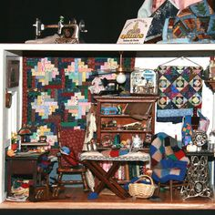 Collections of All Types From the Miniaturists of the Miniature Club of B.C.: Wonderful piecing of tiny sections of fabrics in these 1:12 scale dolls house quilts by Fatima de Ponte.