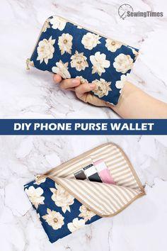 Diy Wallet Bag, Diy Phone Bag, Diy Phone Pouches, Diy Pouch No Zipper, Zipper Pouch Tutorial, Diy Purse, Purse Tutorial, Coin Purse Pattern, Wallet Sewing Pattern