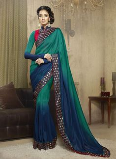 Style and design and trend would be at the peak of your splendor as soon as you dresses this green and blue georgette designer saree. The ethnic embroidered, patch border and resham work in the appare...