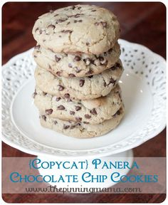 These are the thickest, chewiest, most amazing chocolate chip cookies in the world!  I have made the 6 times in a week because everyone keeps eating them all as soon as they come out of the oven! Best chocolate chip cookies EVER! {Copycat} Panera Chewy Chocolate Chip Cookies by www.thepinningmama.com #cookies #cookierecipes #yum #delish #chocolatechipcookie #chocolatechipcookies