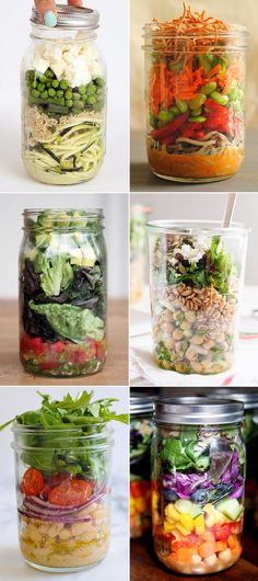 Mason Jar Salads That Will Transform Your Lunchtime 12 Marvelous Mason Jar Salad Recipes! Prepare ahead for a quick and healthy grab & go Marvelous Mason Jar Salad Recipes! Prepare ahead for a quick and healthy grab & go lunch! Mason Jar Lunch, Mason Jar Meals, Meals In A Jar, Mason Jars, Lunch Snacks, Healthy Snacks, Healthy Eating, Healthy Recipes, Jar Recipes