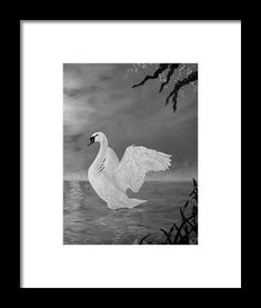 Swan Framed Print featuring the painting Lake Dancer by Faye Anastasopoulou Framed Art Prints, Swan, Office Decor, Fine Art America, Dancer, Wall Art, Painting, Animals, Collection