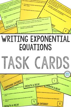 I like the variety of applied situations students encounter when writing exponential equations from word problems! Task cards are great for their adaptability to the needs of different class periods. Algebra 2 Activities, Algebra 2 Worksheets, Math, Logarithmic Functions, Common Core Standards, Word Problems, Task Cards, Problem Solving, Lesson Plans