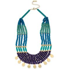 M. Haskell for Inc Gold-Tone Blue-Beaded Multi-Layer Statement... ($30) ❤ liked on Polyvore featuring jewelry, necklaces, gold, blue necklace, blue jewelry, disc necklace, layered disc necklace and multi layer necklace