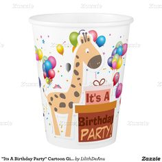 """Its A Birthday Party"" Cartoon Giraffe Party Cup Paper Cup"