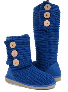 Fold-Over Crochet Slouchy Knit Sweater Button Flat Mid-calf Boot
