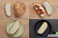 Bocadillo crujiente de mozzarella in carrozza con membrillo Sandwiches, Queso Mozzarella, Bread, Cooking, Food, Salads, Sweet And Saltines, Side Dishes, Roll Up Sandwiches