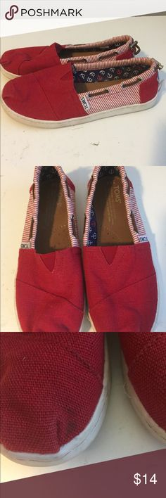 Toms Red Girls Youth Flat Shoes 3.5 Great! No box Toms Shoes