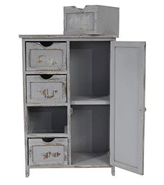Interessant Bourbon Distressed Grey Vintage Bedside Table | Grey, Bedside  TH09