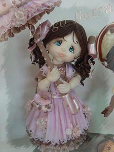 dama antañona porcelana fria polymer clay pasta francesa masa flexible biscuit cake topper modelado modelling fimo