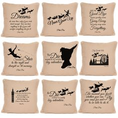 Peter Pan Gifts Large Luxury Cushion with Pad or Cushion Cover Peter Pan Quotes, Luxury Cushions, Throw Pillows, Sayings, Cover, Gifts, Ebay, Cushions, Presents