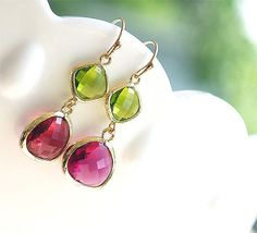 Ruby Peridot Earrings in Gold  Gold Filled Earwire  by FiveThirty, $22.50