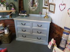 French Style Duck Egg Blue and Gold Chest of Drawers