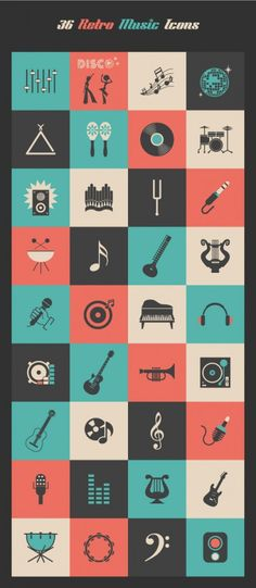 This is a set of music icons from vecteezy.com, a site that creates vector art.  I like how the de-saturated colors give these icons a vintage/retro appearance. I also appreciate the subtle details present in some the instruments.