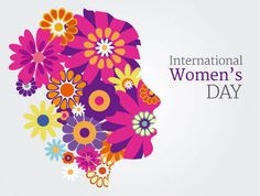 Women's Day Greeting Card on Girl Face with Flowers