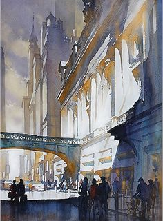Grand Central Light by Thomas W. Schaller Watercolor ~ 30 inches x 22 inches