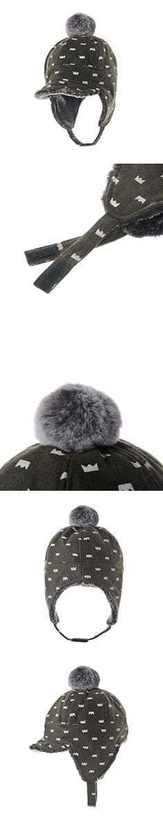 WITHMOONS Ear Flap Cap Trapper Hat Real Rabbit Pom Beanie Trooper Faux Fur AC7143 (Green)