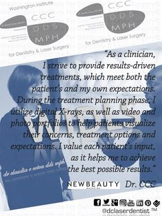 """As a #clinician,  I strive to provide #results-driven #treatments, which meet both the patient's and my own #expectations. During the treatment planning phase, I utilize digital #X-rays, as well as #video and #photo #portfolios to help patients visualize their #concerns, treatment options and expectations. I value each patient's #input, as it helps me to achieve  the best possible #results."" #Dr.CCC"