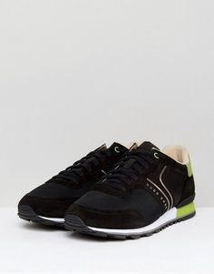 BOSS Green by Hugo Boss Suede and Leather Sneakers Black - Black
