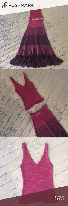 """Tamara Catz 2 pc. Maxi A stunning on trend, two piece slightly cropped tank w/ maxi skirt.  This woven designer creation, is in tiered ombré effect, in fuchsia, purple, and wine mix of yarns, by TAMARA CATZ❗The tank is 22"""" long and the skirt is 42"""" long.  The skirt's ruffled hem has amazing weight to it, for lots of swing and motion while walking👌 My photos can not capture the beauty of this outfit......*From a smoke free home. TAMARA CATZ Skirts Skirt Sets"""