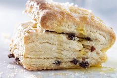 *These tender, flaky scones are all about the butter. The extra flaky, buttery texture is achieved by using a technique borrowed from puff pastry—spreading butter onto the rolled-out dough and folding it in layers. Irish Recipes, Scone Recipes, Fruit Recipes, Brunch Recipes, Irish Desserts, Recipies, Think Food, Chocolates, Crack Crackers