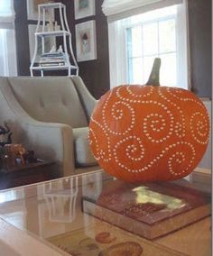 Love this idea for decorating a pumpkin for Halloween! Pumpkin Carving With Drill, Pumpkin Drilling, Pumpkin Carvings, Carving Pumpkins, Halloween Pumpkins, Halloween Crafts, Halloween Decorations, Halloween Ideas, Alien Halloween