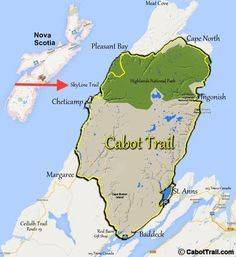 Map of the Cabot Trail, Cape Breton Nova Scitia, Cape Breton Highlands National Park. For a scenic drive, take Route 19 along the Ceilidh Trail. This will take you through villages such as Judique and Mabou East Coast Travel, East Coast Road Trip, Cap Breton, East Coast Canada, Nova Scotia Travel, Trans Canada Highway, Voyager Loin, Canadian Travel, Canadian Rockies