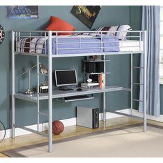 !!!! Premium Metal Twin Loft Bed Over Workstation, Silver - Pcc Click