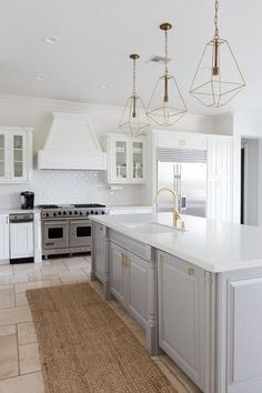 Kitchen island ideas for inspiration on creating your own dream kitchen. diy painted small kitchen design - with seating and lighting Small Condo Kitchen, New Kitchen, Kitchen Ideas, Brass Kitchen, Kitchen With Gold Hardware, Walnut Kitchen, Updated Kitchen, Kitchen Layout, Kitchen Designs