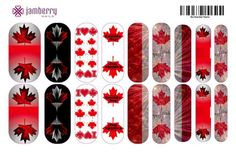 Canada inspired nail wraps. Design your own in the Jamberry Nail Art Studio: http://www.kimd.jamberrynails.net/nas/