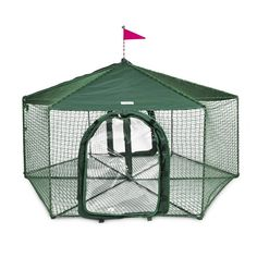 A snap to erect, the Gazebo can be used by itself or the doors can be removed so that it can easily be connected to: Kittywalk Lawn, Deck and Patio, 2/Curves, 4/Curves, T-Connect, Penthouse and Clubho
