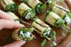 deVegetariër.nl - Vegetarisch recept - Bij de borrel of voorafje: rolletje van courgette