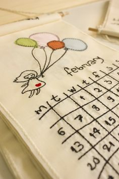 embroidered wall calendar 2018 by madebysir on Etsy