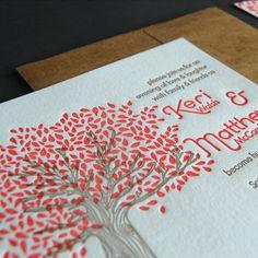 Paisley Tree Press | Unique, hand-printed, letterpress wedding invitation, Riverstone invitation