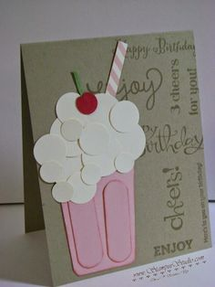 """Strawberry Shake • Punch Art. The glass was made with a 2″ x 3″ piece of Blushing Bride card stock which was cut at a slight angle on both sides. Then I cut 2″ x 5/8″ pieces and used the Envelope Punch Board to round the corners. The frothy foam and cherry on top were made from various sized of our Circle Punches. The straw was stamped with one of the images from the stamp set """"Tape It"""" and cut to size."""