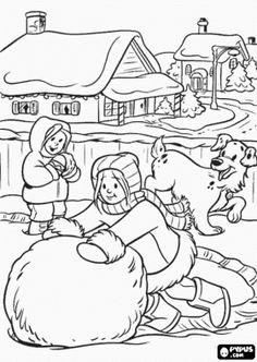 Meisjes met een hond spelen in de sneeuw het maken van een grote bal in midwinter kleurplaat