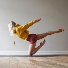 @ania_75 taking flight in this Knee Warrior Three Variation Pose don't be afraid to get a little playful in your #yoga practice wearing #aloyoga @aloyoga Thanks - IG/Yogainspiration