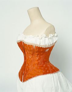 orange 1860-1870 corset located in Manchester art Gallery