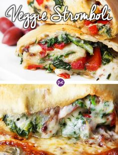 This Veggie Stromboli will make your guests rave or make it for family dinner. Filling ingredients: spinach, roasted red peppers and sun-dried tomatoes! Vegetarian Stromboli Recipe, Vegetarian Recipes, Cooking Recipes, Healthy Recipes, Calzone, Veggie Cheese, Spinach And Cheese, Pizza