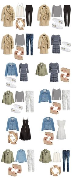 How to Create A Spring Capsule Wardrobe: 15 basic spring pieces that can be mixed and match for 12 different outfits.