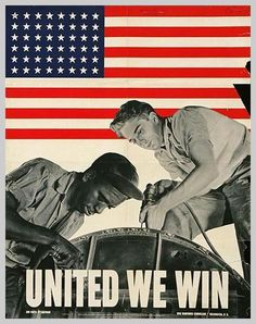 i'm struck by the image of white and black working together. was this a message about race? a call to ignore racism to defeat a greater enemy?