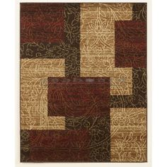 Rosemont Red Medium Rug by Ashley R197002 Amidst an overlay of strong, linear shapes are the curves and swirls of a subtle floral pattern