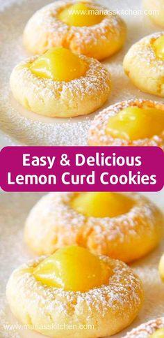 Easy Lemon Curd Cookies Recipe - Maria's Kitchen - - I bоught lemon curd with no іdеа whаt I асtuаllу wаntеd tо do with it. Whеn I ѕаw thіѕ on …. Lemon Curd Dessert, Lemon Curd Cookies Recipe, Recipes Using Lemon Curd, Recipe Using Lemons, Easy Lemon Curd, Lemon Dessert Recipes, Curd Recipe, Easy Cookie Recipes, Köstliche Desserts