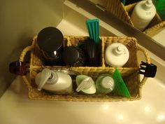 Bathroom Counter Organization - use picnic caddy basket for personal items used daily, keeps counter neat & provides easy access.