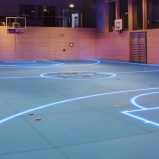 Gym's smart floor uses LED lights for changeable boundary lines Portable Basketball Hoop, Outdoor Basketball Court, Stadium Architecture, Glass Floor, Digital Trends, Cool Tech, Engineering, Gym, Flooring