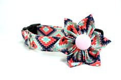 Aztec Sunlight Dog Collar and Flower Set / Made to Order - pinned by pin4etsy.com